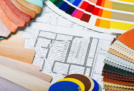 architectural: samples of materials colors, upholstery and cover the architectural drawing