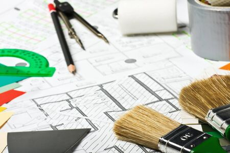 interior drawing: Painting and drawing tools on the premises for repair scheme