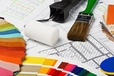 Paints, brushes and accessories for repair to architectural drawing.This composition recommend using advertising tools and materials for the repair of articles in magazines and on the Internet. Stock Photo - 15167109