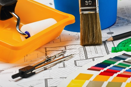 Paints, brushes and accessories for repair to architectural drawing.This composition recommend using advertising tools and materials for the repair of articles in magazines and on the Internet. Stock Photo - 15167107
