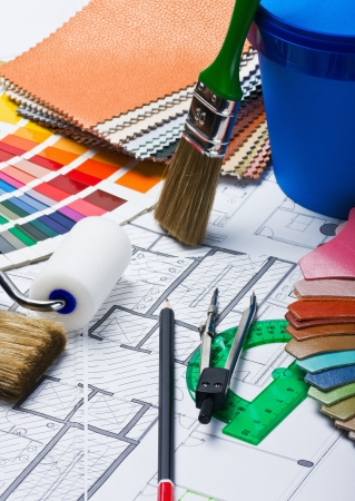 Paints, brushes and accessories for repair to architectural drawing Stock Photo - 15281969