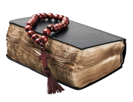 credo: Bible and rosary isolated on white background  Stock Photo