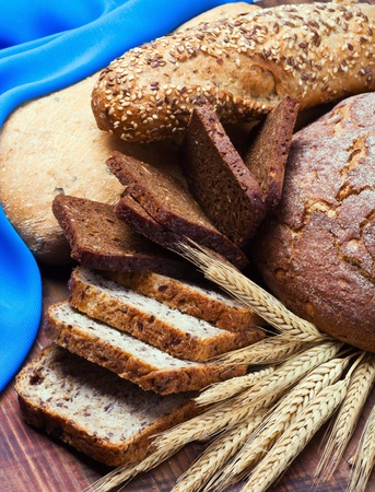 Bakery product assortment with bread loaves, buns  Stock Photo - 15373287