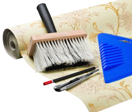 paper wallpaper and tools for sticking  Stock Photo