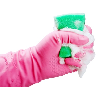gloved hand squeezes a sponge for cleaning with foam Stock Photo - 15640365