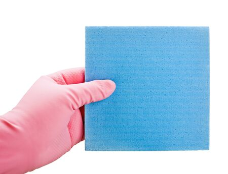 Hand in blue glove with sponge isolated on white background
