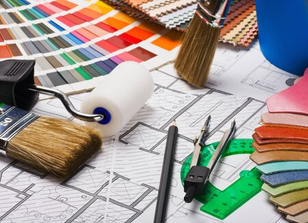 Paints, brushes and accessories for repair to architectural drawing  photo