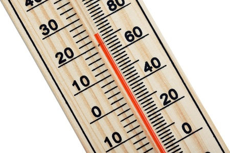 wooden thermometer isolated on white background photo