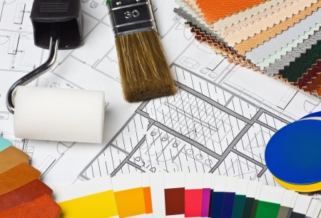 remodeling: Paints, brushes and accessories for repair to architectural drawing
