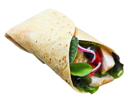 wrap: tortilla with meat and vegetables isolated on a white background