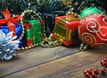 Christmas decorations, balloons and gifts on the table Stock Photo - 15988789