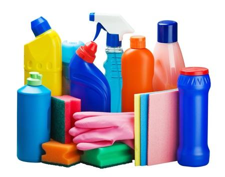 productos quimicos: equipo de limpieza aisladas sobre fondo blanco