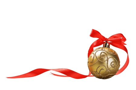 Christmas ball with red bow and ribbon isolated on a white background for text Stock Photo - 15988793