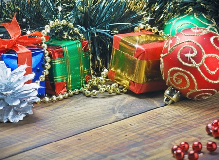 Christmas decorations, balloons and gifts on the table Stock Photo - 15988819
