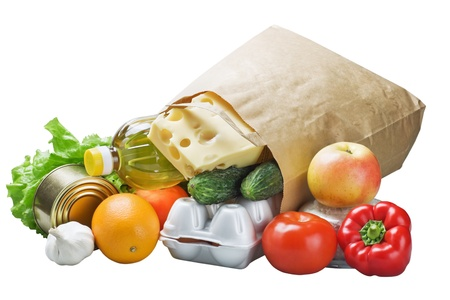 food in a paper bag isolated on white background Archivio Fotografico