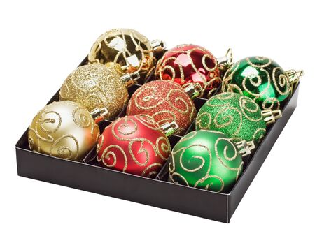 Multicolored Christmas balls in a box isolated on white background Stock Photo - 16353430