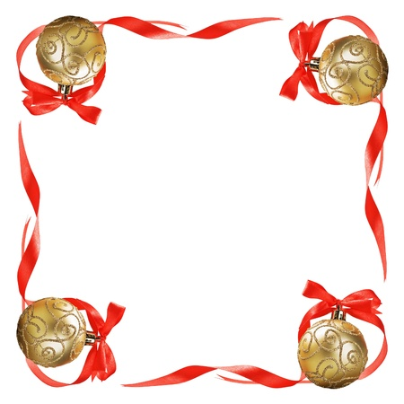 Christmas balls with red bows and ribbons isolated on a white background for text Stock Photo - 16353394