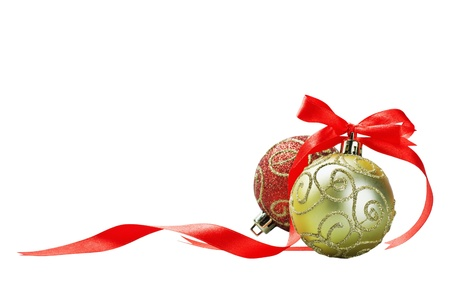 Christmas ball with red bow and ribbon isolated on a white background for text  Stock Photo - 16353344
