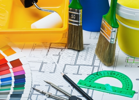 Paints, brushes and accessories for repair to architectural drawing