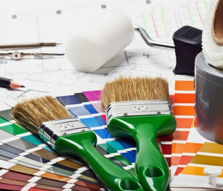 paints and paint repair on the architectural plan  Stock Photo - 16254362