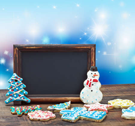 blackboard with space for text on a blue background Christmas  photo