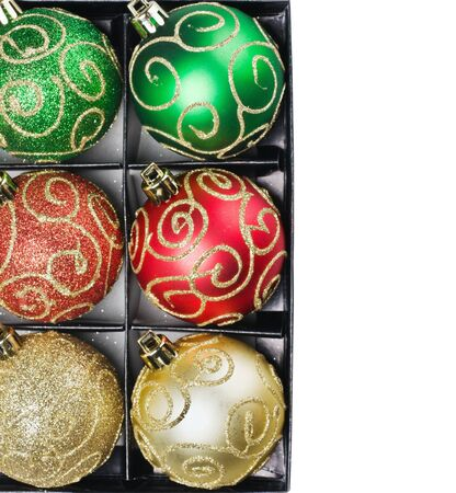 Multi Colored Christmas balls in a box with a place to write a congratulatory text Stock Photo - 16515705