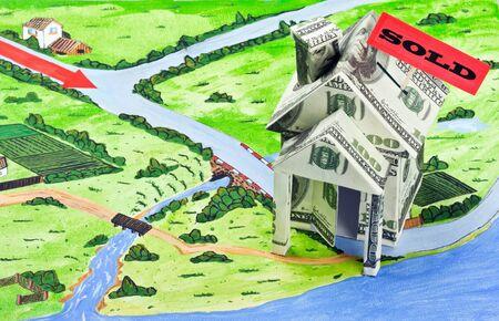 investment real state: casa del dinero y firmar la venta de los mapas de imagen de fondo
