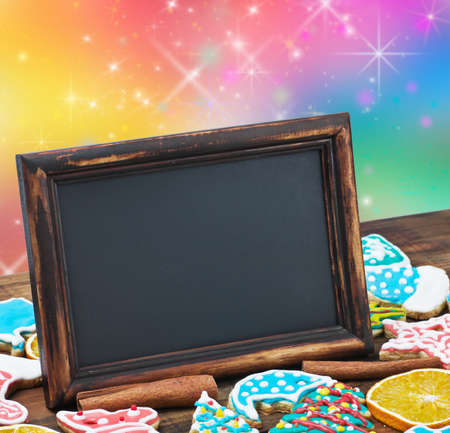 blackboard with space for text on a blue background Christmas  Stock Photo - 16515673