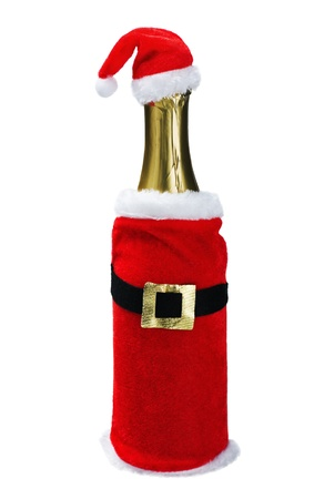 champagne bottle in a Christmas decoration santa clothes isolated on white background photo