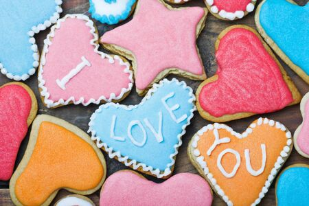 Valentine cookies with the words I love you on the table photo