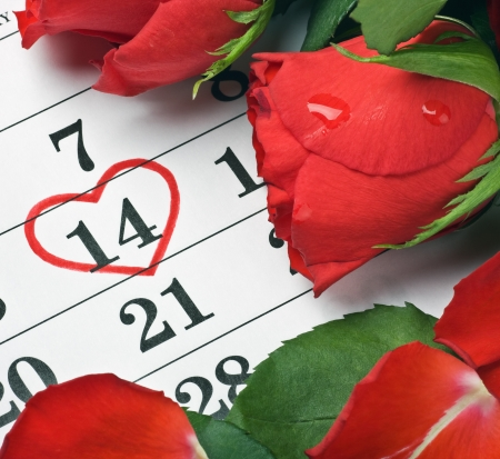 red roses lay on the calendar with the date of February 14 Valentine's day Stock Photo - 17116335