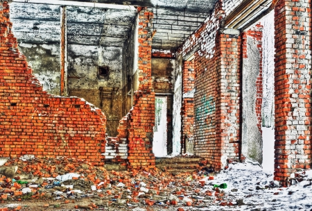 destroyed and burned the interior of the old house made in HDR technique  Stock Photo - 17949372
