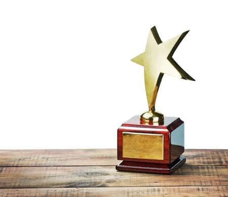 trofeo: premio estrella con el espacio para el texto en fondo blanco