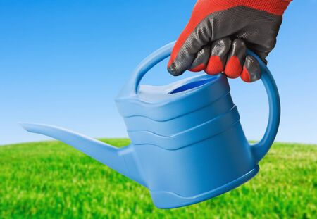 garden watering can in hand on background of green field photo