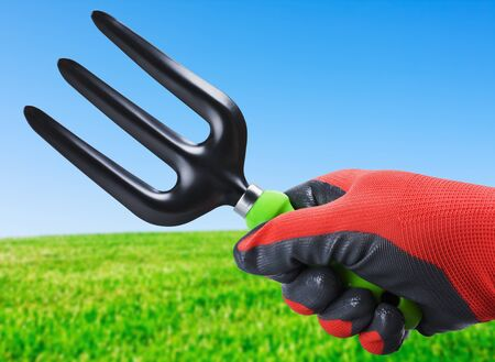 garden rakes in hand on a background field Stock Photo - 18588143