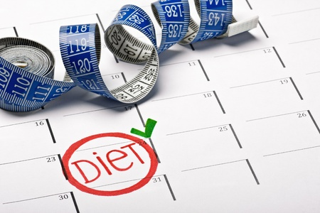 calendar with the date marked the beginning of a diet Stock Photo - 18725784