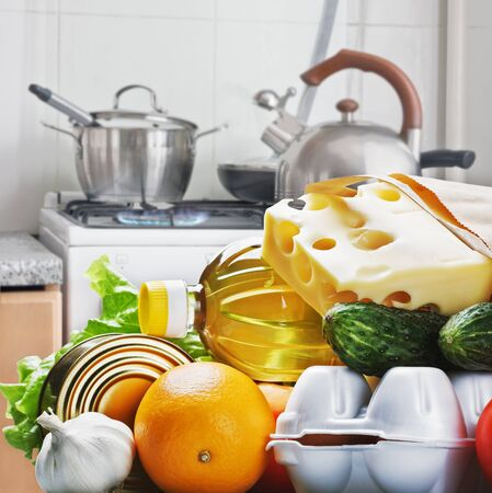 fresh food for longevity against the home kitchen photo
