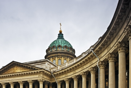 Kazan Cathedral in St. Petersburg, overcast day photo