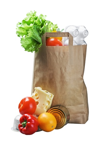 canned food: food in a paper bag isolated on white background Stock Photo