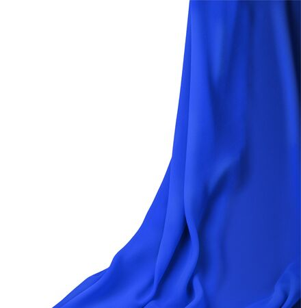 curtain blue fabric on a white background photo