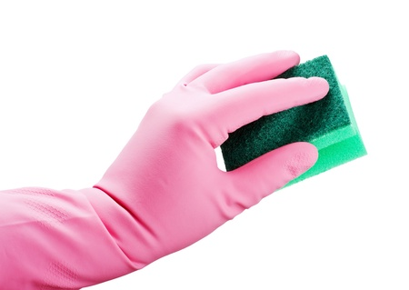 gloved hand squeezes a sponge for cleaning isolated on white background Stock Photo - 19143701