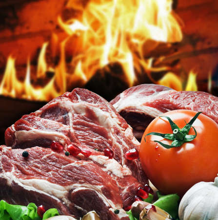 fresh pieces of steak and vegetables for grilling Stock Photo - 19160548