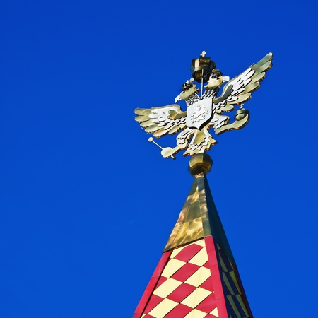 doubleheaded: gold-plated double-headed eagle on the tower Izmailovo Kremlin, Moscow. Russia Stock Photo