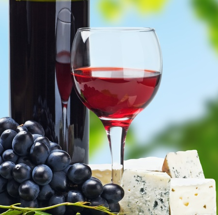 glass of red wine with grapes on a background of nature photo