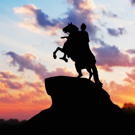 founder: Monument of Peter Great, silhouette against the sunset. St. Petersburg, Russia. Stock Photo