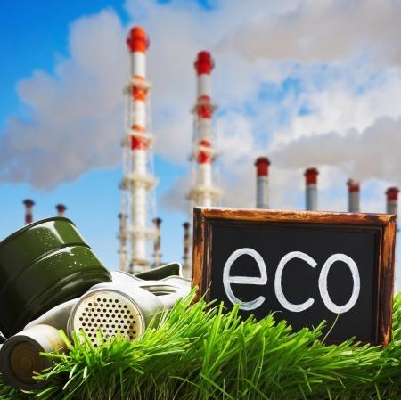 contaminacion ambiental: m�scara de gas y una pizarra con una inscripci�n en la ecolog�a fondo fumar chimeneas Ecolog�a y contaminaci�n ambiental