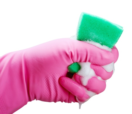 dirty dishes: Hand holding white cleaning sponge isolated on white Stock Photo