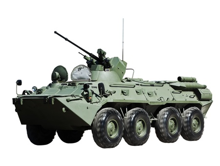 Russian BTR-80 armored personnel carrier isolated on white background
