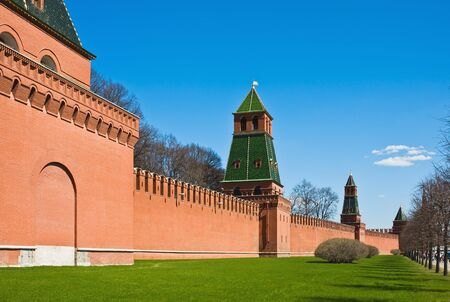 fragment of brick walls and towers of the Moscow Kremlin. Russia photo