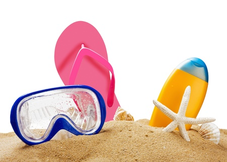 beach gear on the sea sand isolated on white background photo